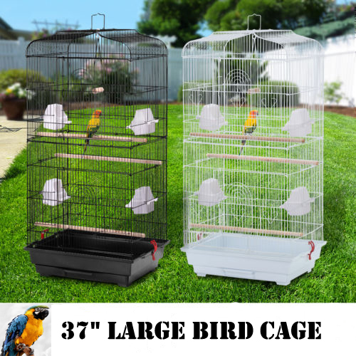 """Zimtown Large Bird Parrot Cage Canary Parakeet Cockatiel LoveBird Finch 37"""" Bird Cage Include Wood Perches & Food Cups"""