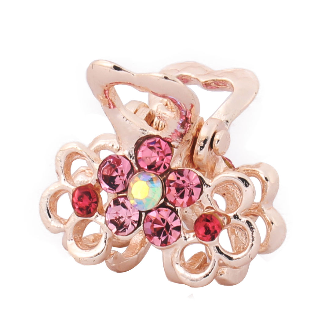 Women Metal Flower Pattern Decor Hair Claw Clip Jaw Hairpin Barrette Pink