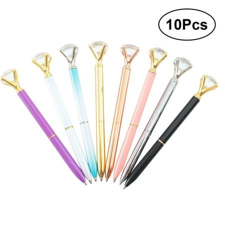 10PCS Creative Glass Crystal Diamond Pens Ballpoint Pen Roller Ball Pens Diamond Big Metal Pen for School ()