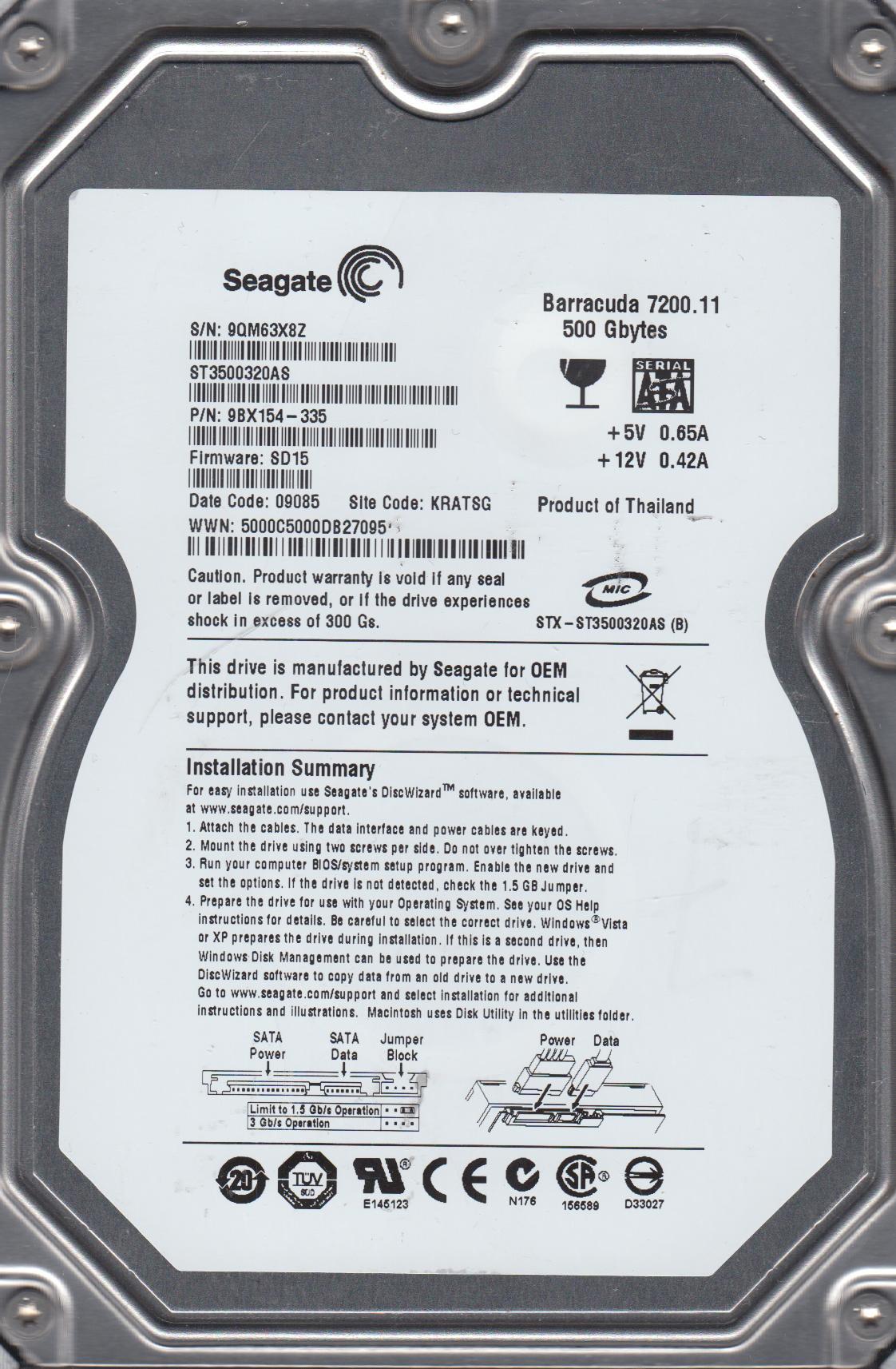 ST3500320AS, 9QM, KRATSG, PN 9BX154-335, FW SD15, Seagate 500GB SATA 3.5 Hard Drive by Seagate