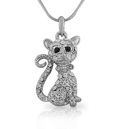 Silver-Tone White Multicolor CZ Kitten Kitty Cat Womens Girls Pendant Necklace with Chain