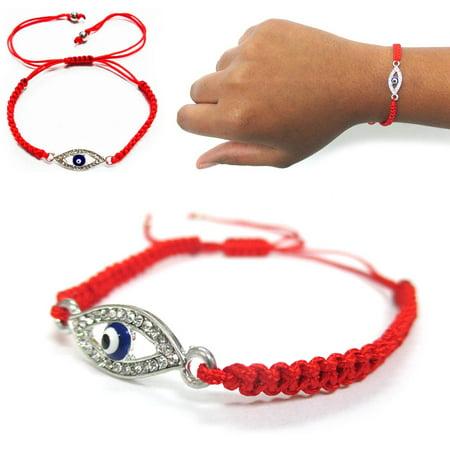 Macrame Evil Eye Lucky Charm Turkish Bracelet Red Nazar Hamsa Jewish Kabbalah CZ