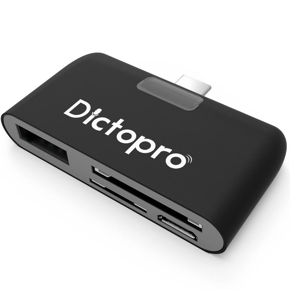 DICTOPRO - USB-C Type-C Hub Adapter w/ High Speed Transfer Card Reader for SD, microSD, Micro-USB, USB, 4-in-1 Combo. Slim External Travel Adaptor For MacBook Laptop, Android, Apple, Mac, PC 2018