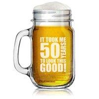 16oz Mason Jar Glass Mug w/ Handle Funny 50th Birthday It Took Me 50 Years To Look This Good