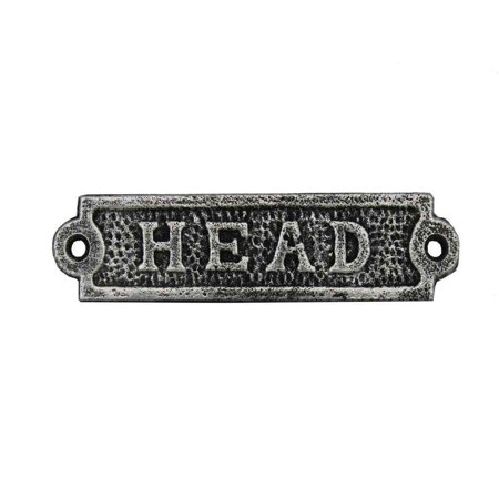 Antique Silver Cast Iron Head Sign 6