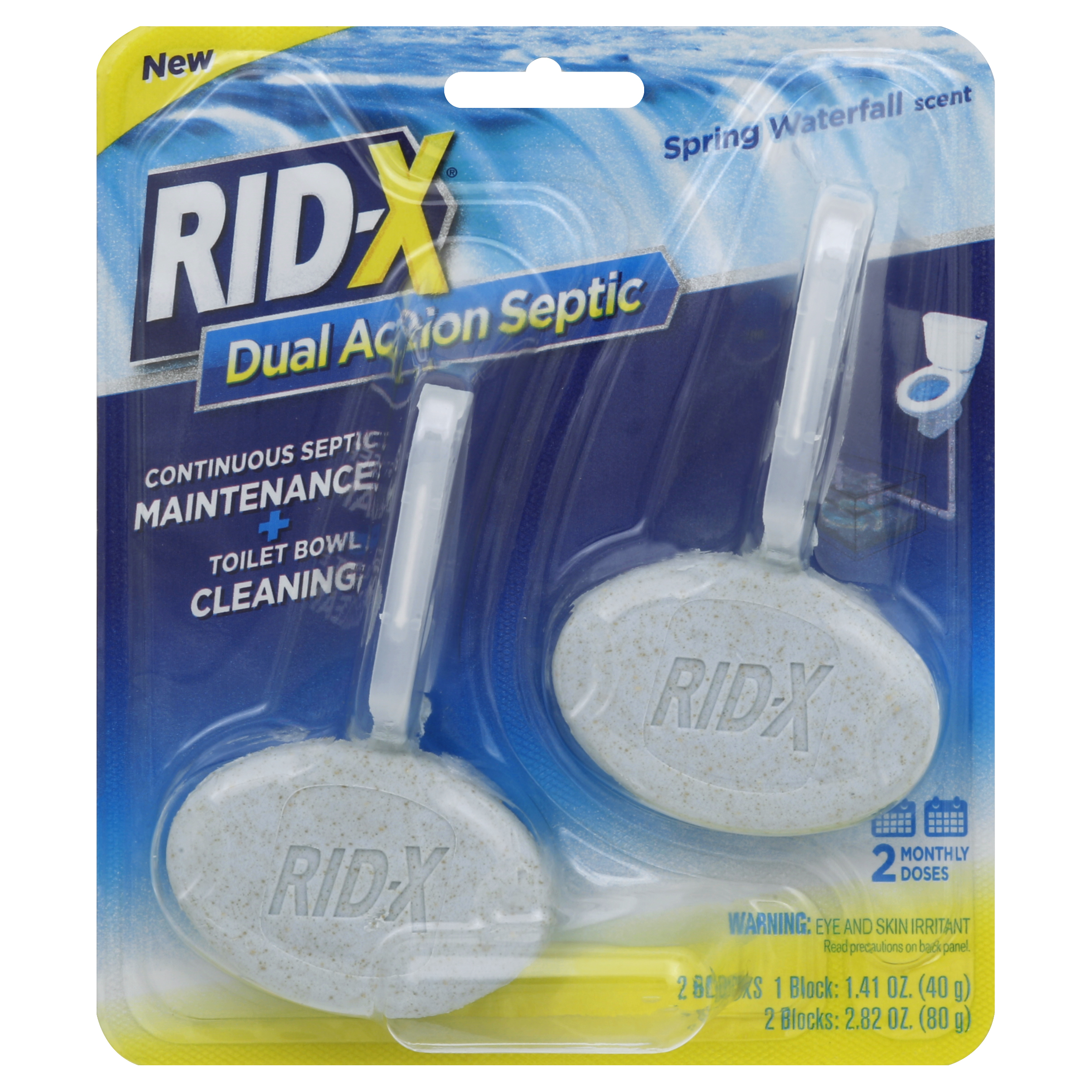 Rid-X Septic Tank System Treatment and Toilet Bowl Cleaner, 2-Dose Dual Action Blocks, 2 Count