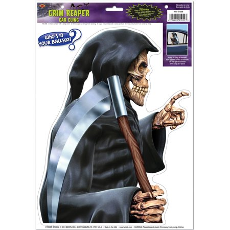 New Halloween Back Seat Driver Grim Reaper Car Clings Party Decoration 12-17