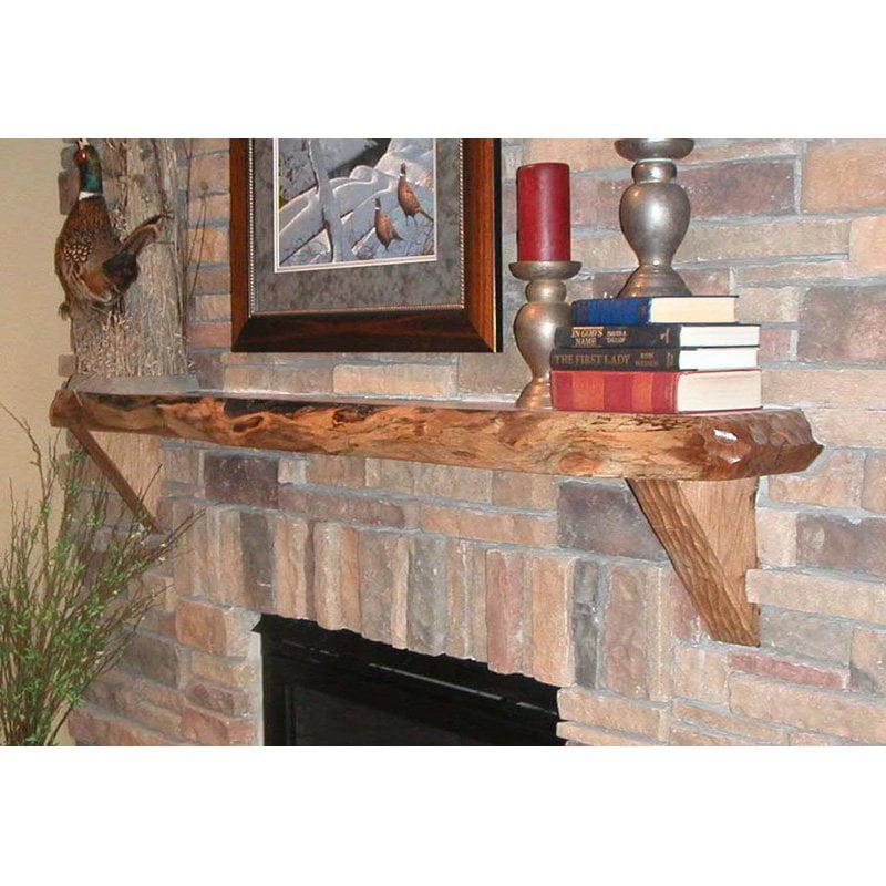 Kettle Moraine Hardwoods Emmett Carved Rustic Walnut Mantel Shelf