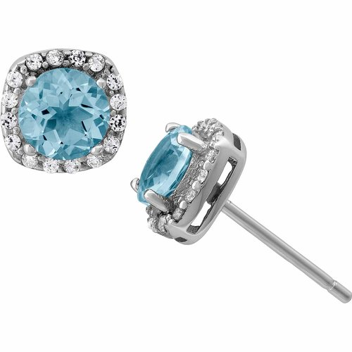 Aquamarine and White CZ Sterling Silver Round Halo 5mm Stud Earrings