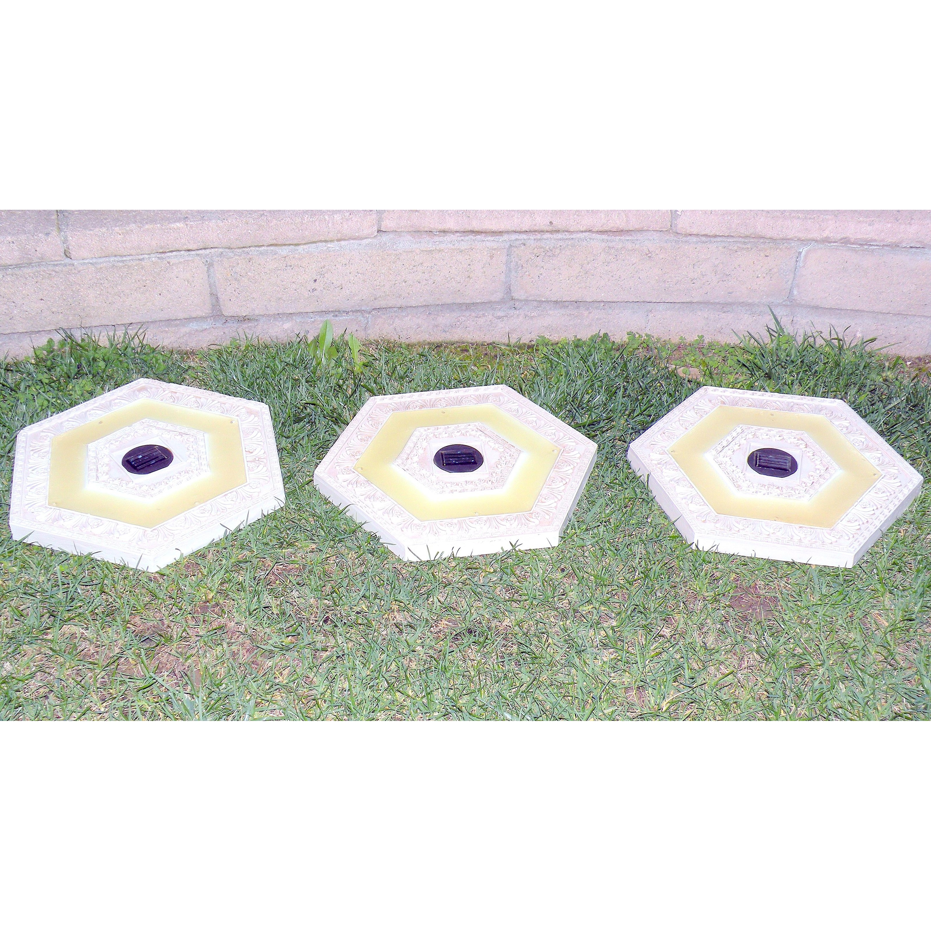 Homebrite Solar Power Hexagon White Wash Stepping Stones - Set of 3