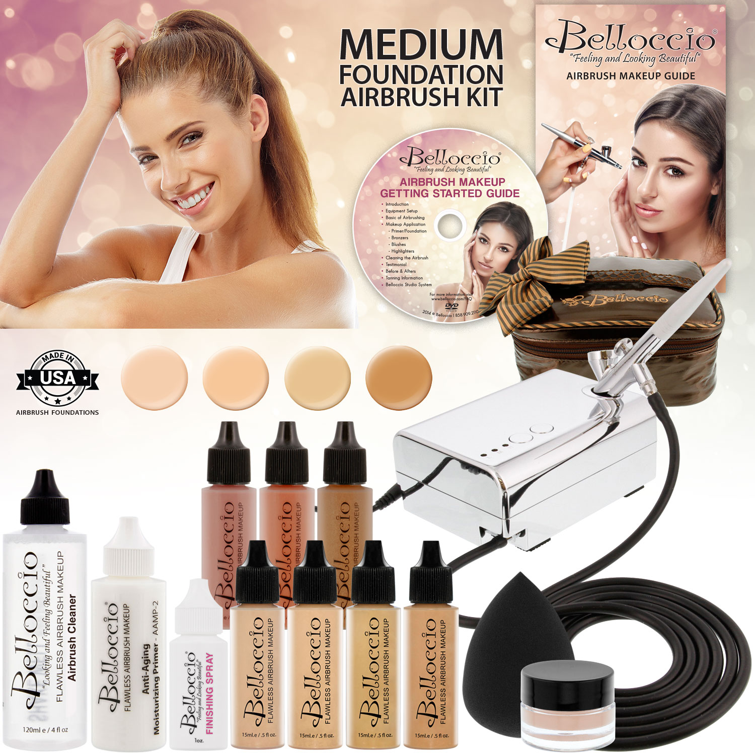 Belloccio Professional Deluxe Medium Shade AIRBRUSH COSMETIC MAKEUP SYSTEM Kit