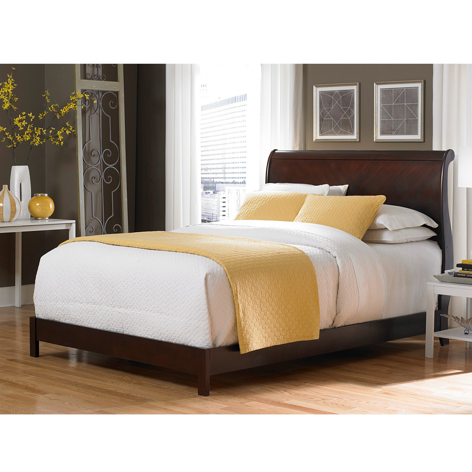 Bridgeport Complete Wood Bed and Bedding Support System with Curved Sleigh Headboard, Espresso Finish, Queen