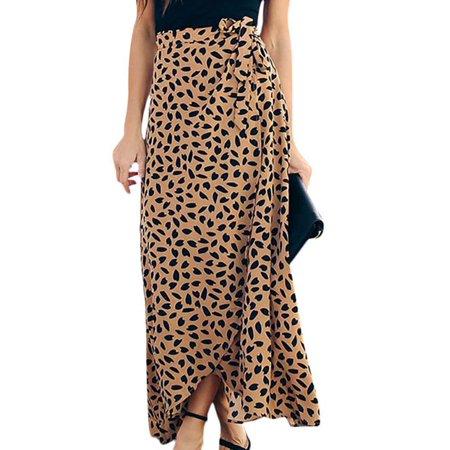 Womens Wrap Maxi Long Skirt Polka Dot Side Split High Waist