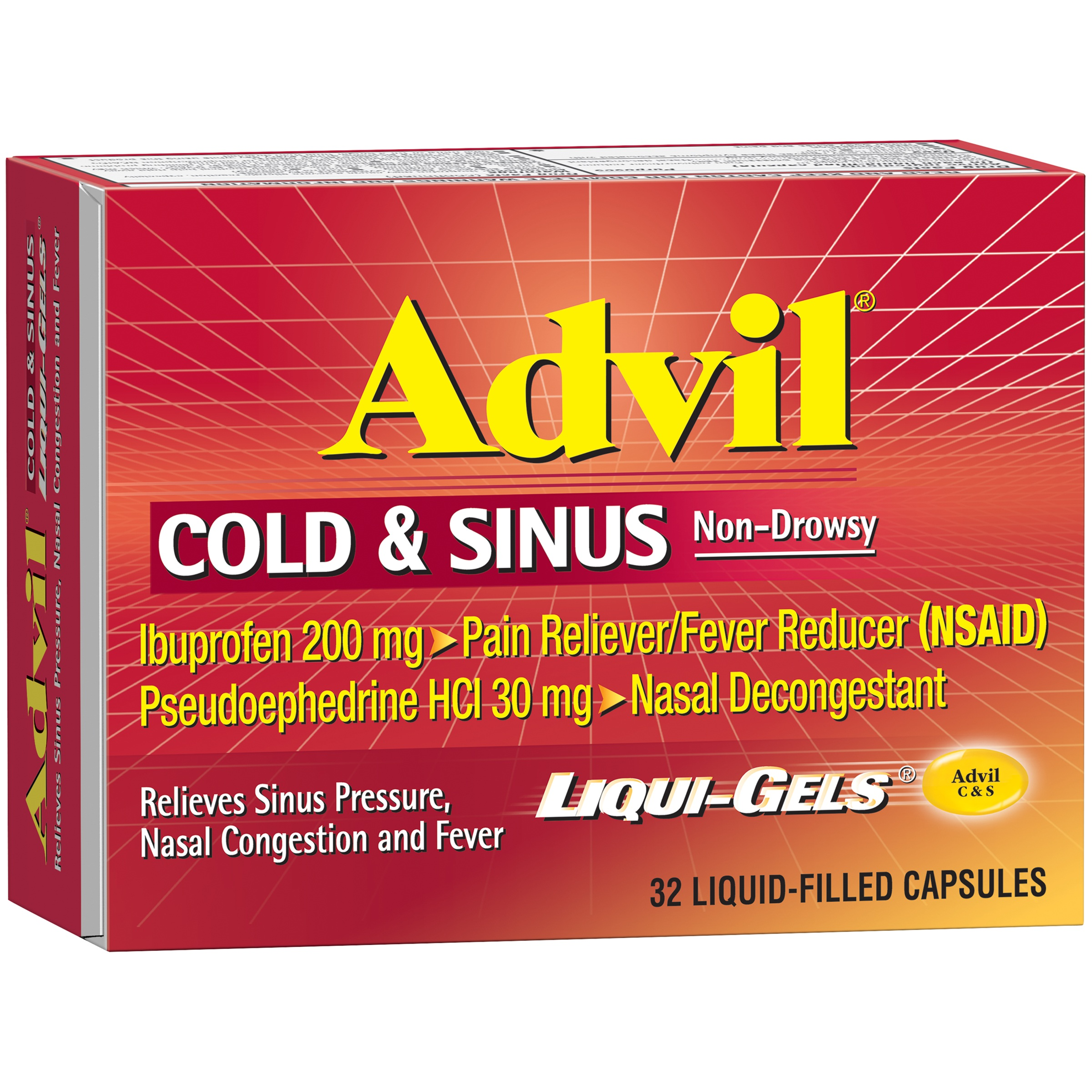 Advil® Cold & Sinus Non-Drowsy Pain Reliever/Fever Reducer & Decongestant  Liqui