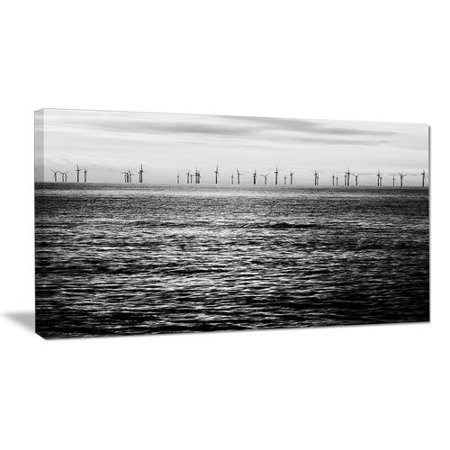- Design Art Wind Turbines Black and White Photographic Print on Wrapped Canvas