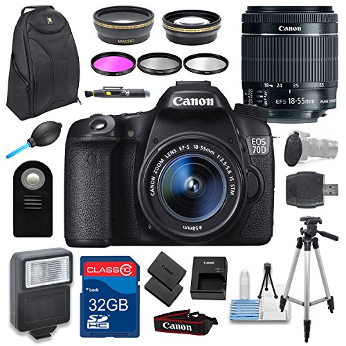 Canon EOS 70D DSLR Holiday Camera Bundle with EF-S 18-55m...