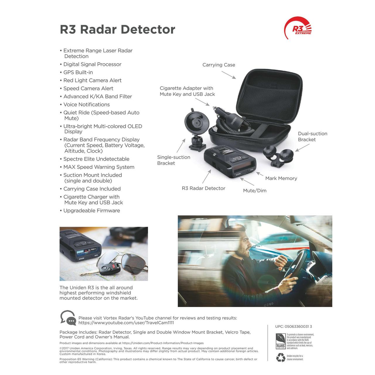 Uniden R3DSP Extremely Long-range Radar Detector/Laser Detector With GPS