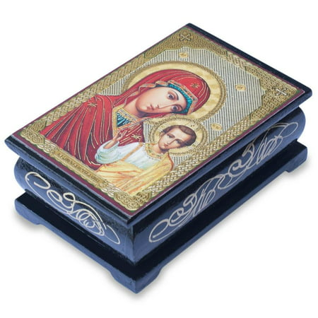 Virgin Mary in Red and Jesus Wooden Rosary Box