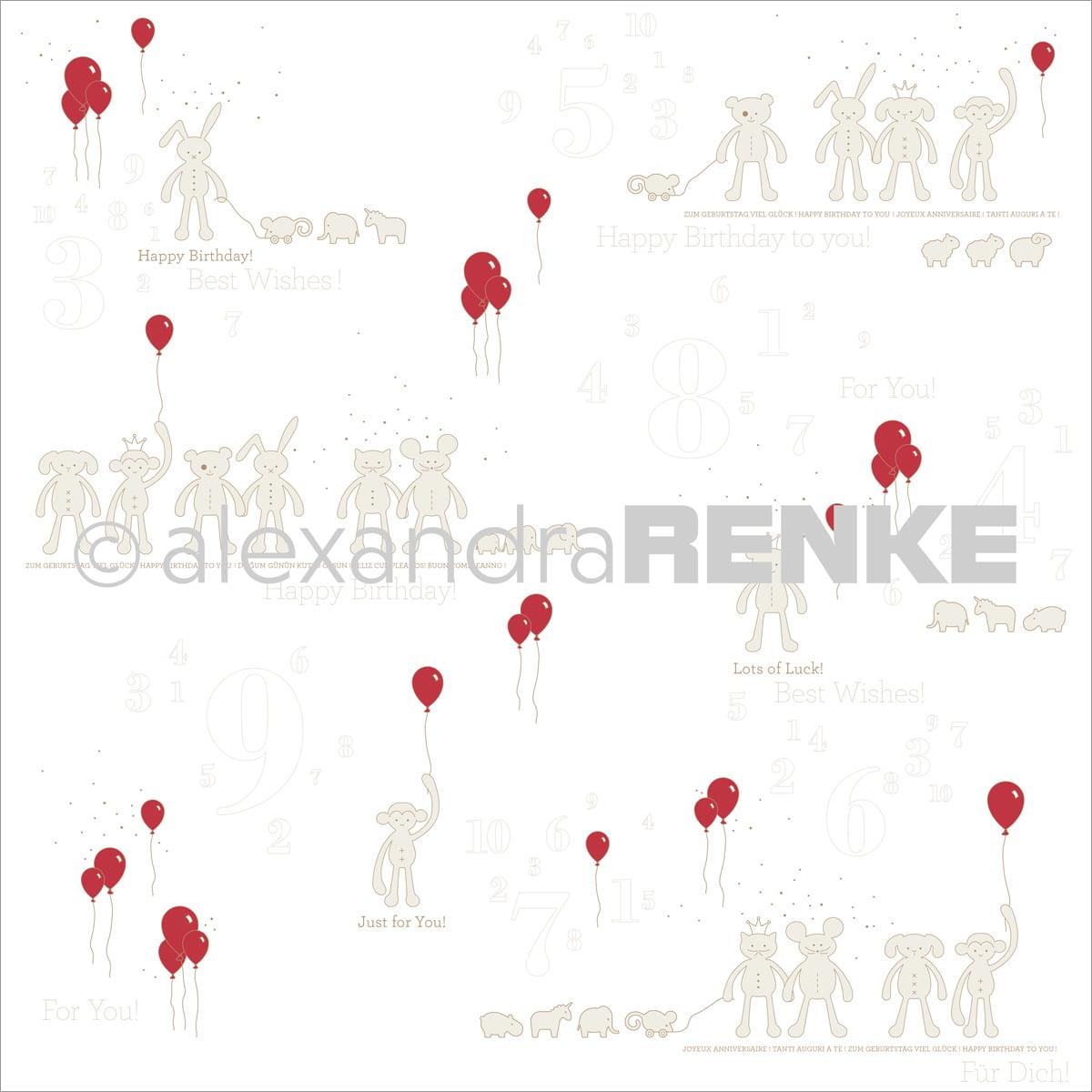 "Alexandra Renke Baby Rocker Design Paper 12""X12""-Stuffed Animals W/Balloons"