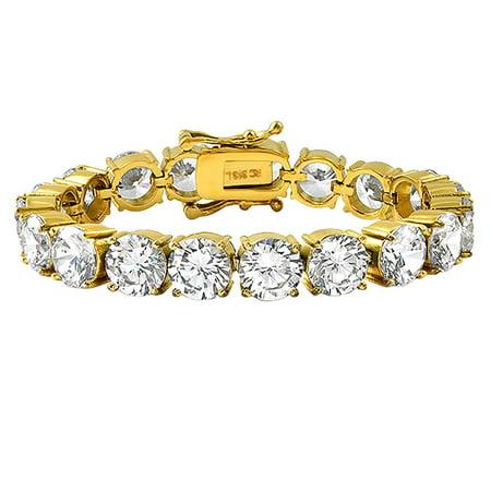 Body Bling Bracelets (10MM CZ Gold 316L Bling Bling Tennis Bracelet )