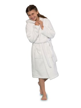 Girls Cute Hooded Robe Soft, Absorbent, Warm. Plush Microfleece 2 Pockets & Belt