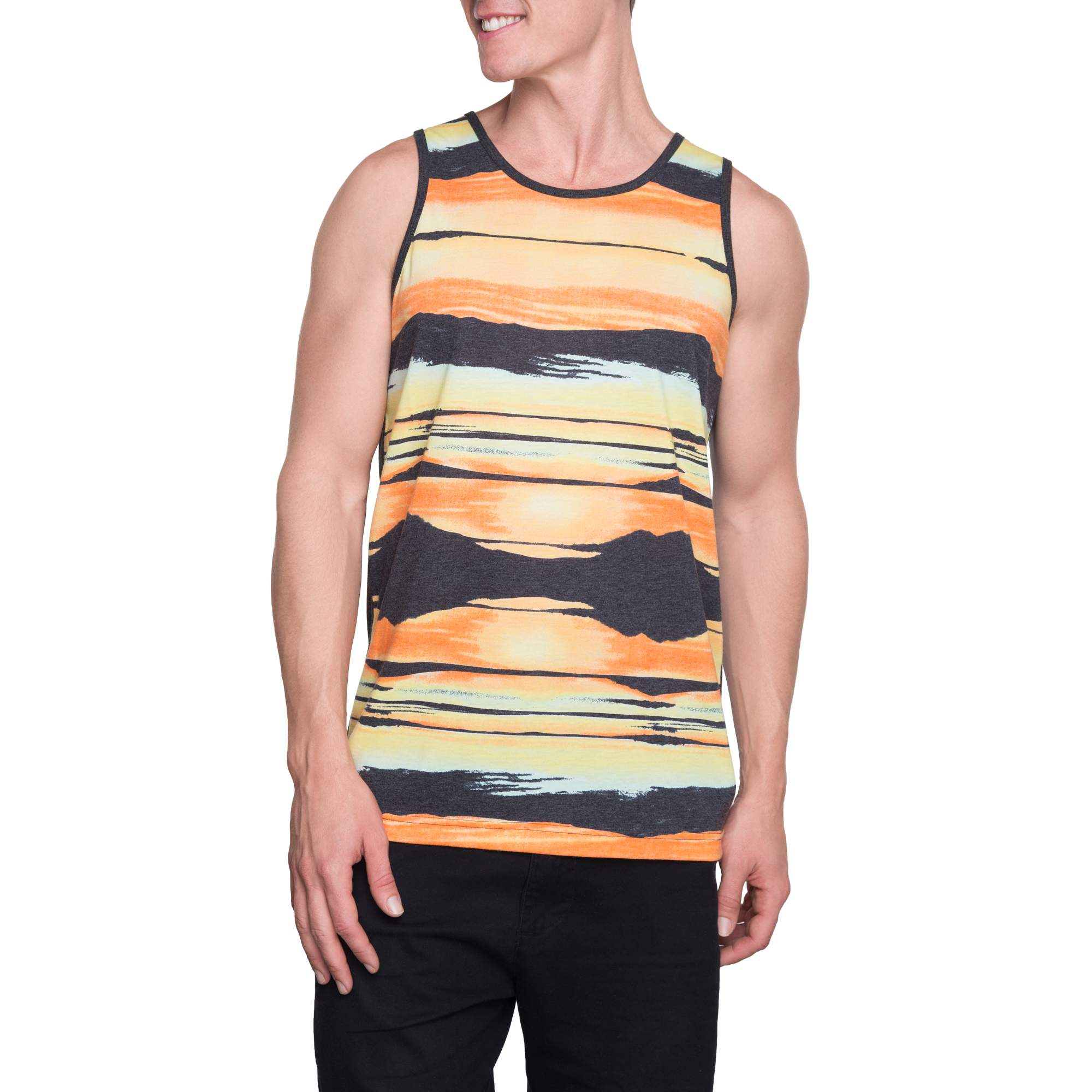 George Men's Sunset Stripe Graphic Tank, up to Size 3XL