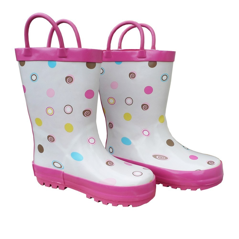 White Polka Dots Deluxe Girls Rain Boots 11-3