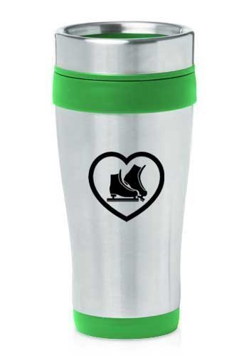Green 16oz Insulated Stainless Steel Travel Mug Heart Ice Skates,MIP by