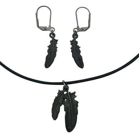 "DragonWeave Raven Feathers Charm Necklace & Earring Set, Gunmetal Black Leather Adjustable 14-16"""