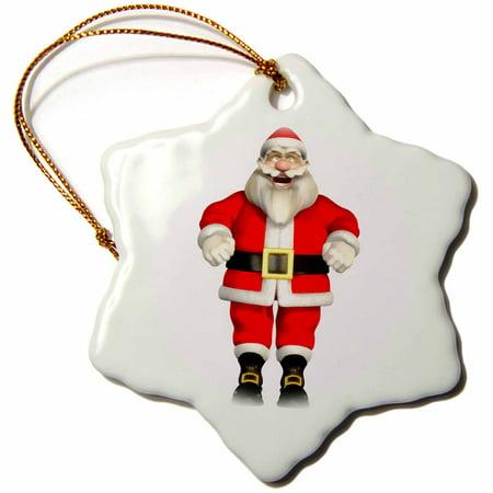 3dRose Santa Claus Laughing - Snowflake Ornament, 3-inch
