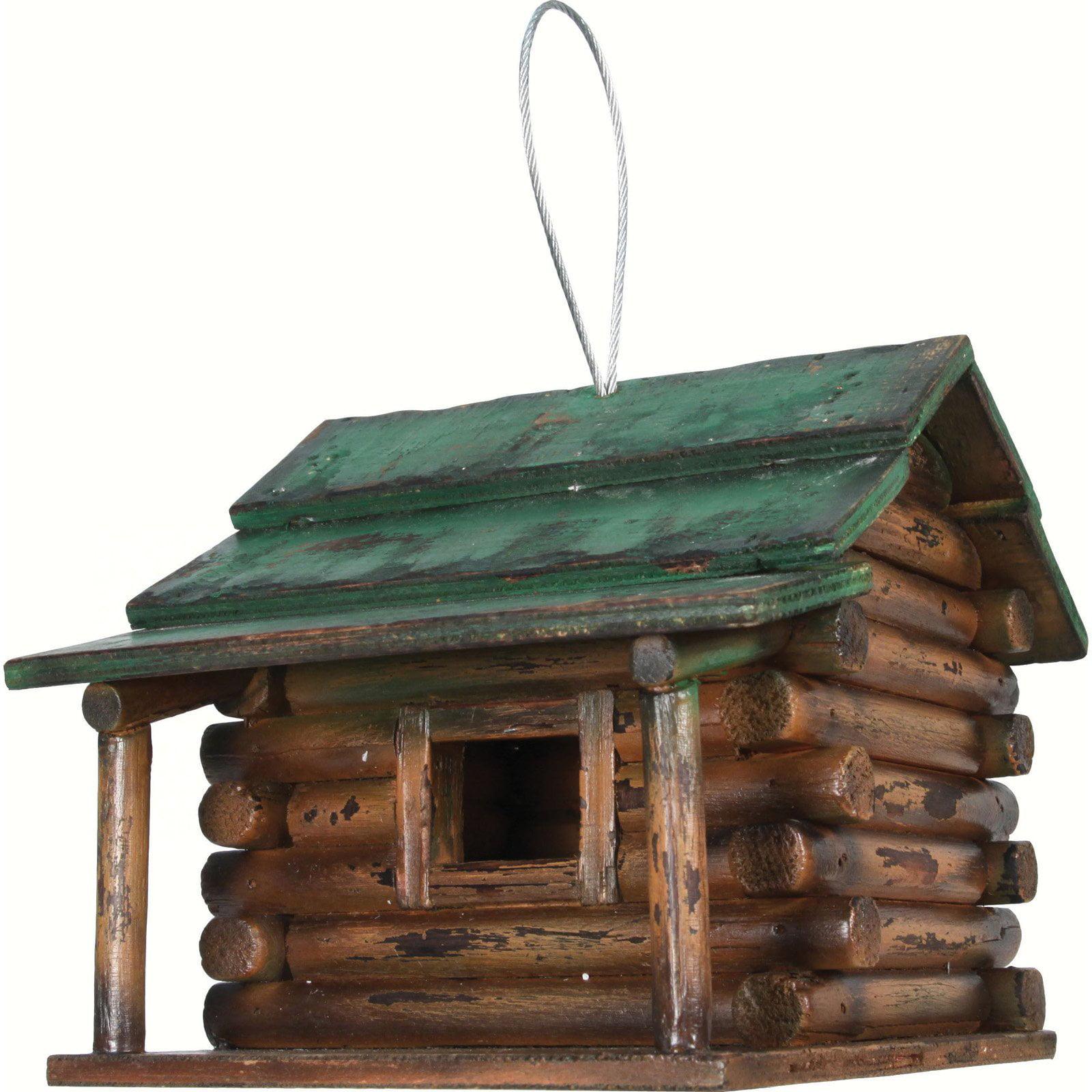 River's Edge Wood Log Cabin Birdhouse