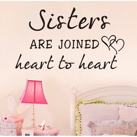 Sisters Heart To Heart Quote Wall Decals Letters Sticker Home Girls Nursery Art