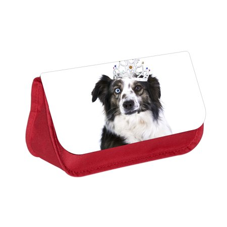 Black and White Dog with a Crown -  Red Cosmetic Case - Makeup Bag - with 2 Zippered Pockets