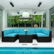 Kinbor 7pcs Outdoor Patio Furniture Sectional Pe Wicker Rattan Sofa Set Blue
