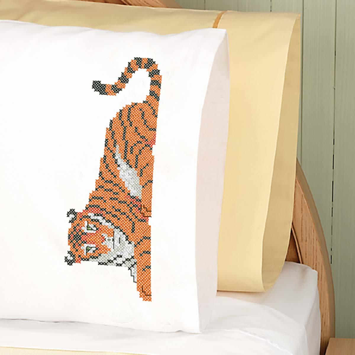 Herrschners® Tiger Pillowcase Pair Stamped Cross-Stitch