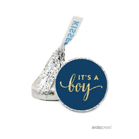 Boy Blue Gold Glitter Hershey´s Kiss Baby Shower Stickers, 216-Pack