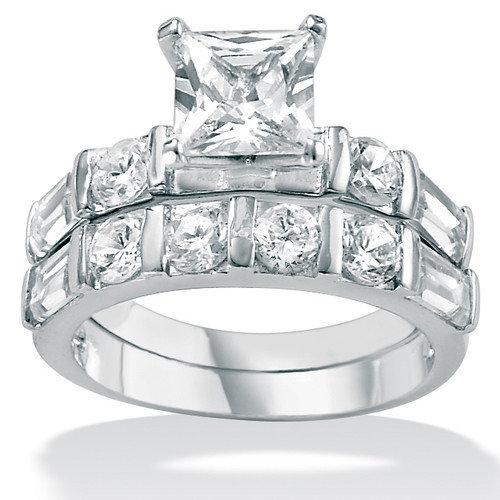 Palm Beach Jewelry Cubic Zirconia Platinum / Sterling Silver Wedding Set