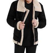 Men's Aviator Fighter Bomber Fur Shearling Collared Vintage Leather Jacket