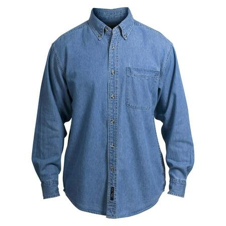 Port Authority Mens Long Sleeve Denim Pocket Shirt