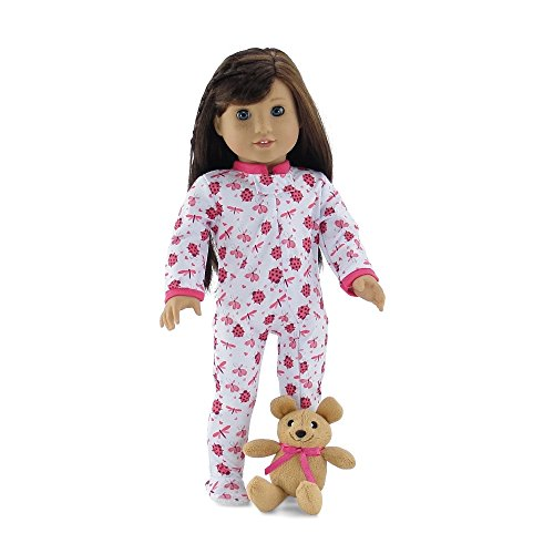18 Inch Doll Clothes | Cozy and Cute Footed Ladybug Print Pajama Outfit Onesie with Teddy... by Emily Rose Doll Clothes