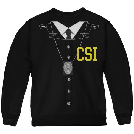 Halloween Crime Scene Investigator Costume Black Youth Sweatshirt (Halloween 2 Final Scene)