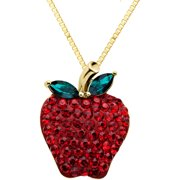 18kt Gold over Sterling Silver Red Apple Pendant made with Swarovski Elements, 18