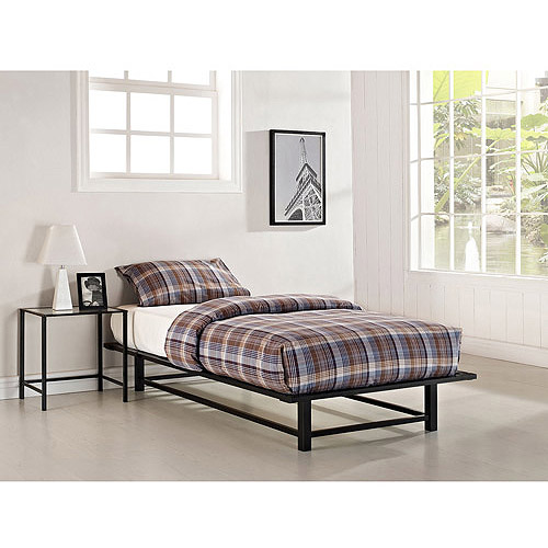 Parsons Twin Metal Ledge Platform Bed and Nightstand Set, Black