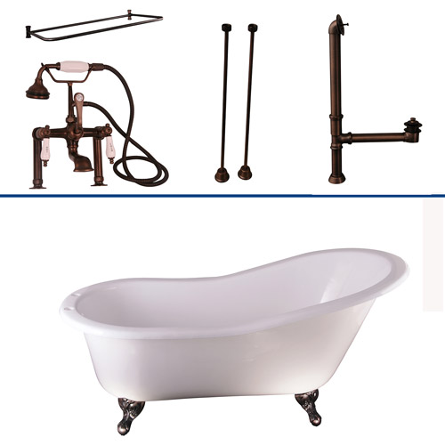Oil Rubbed Bronze Tub Kit 60-Inch Cast Iron Slipper, Shower Rod, Filler, Supplies, and Drain