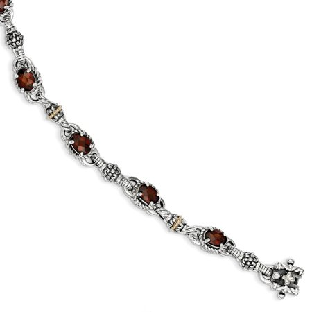 Roy Rose Jewelry Shey Couture Collection Sterling Silver with 14K Yellow Gold Oval Garnet Bracelet 7.25