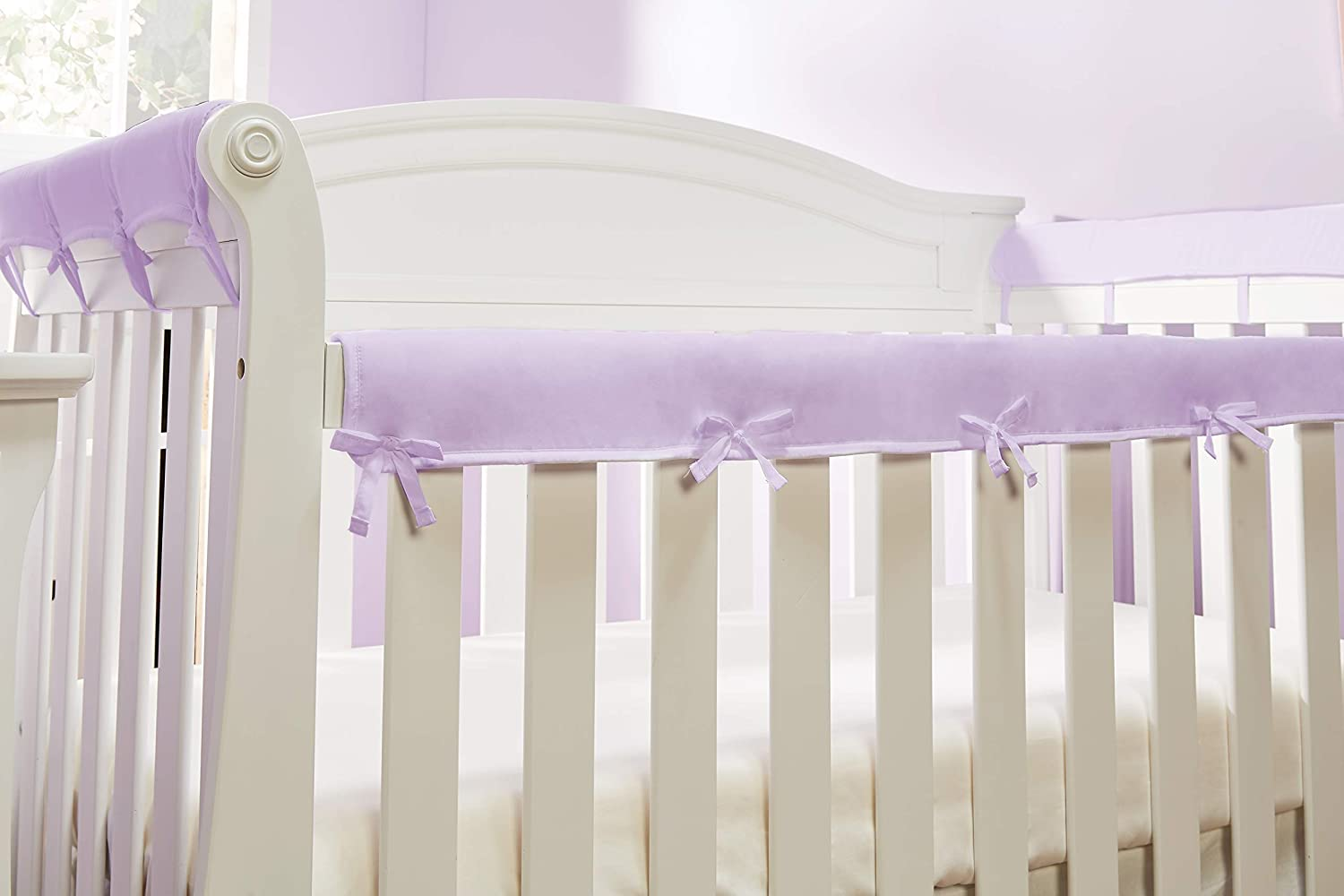 Piece Crib Rail Cover Protector Safe Teething Guard Wrap for Standard Crib Rails Reversible Safe and Secure Crib Rail Cover. Grey//White 3 Fit Side and Front Rails