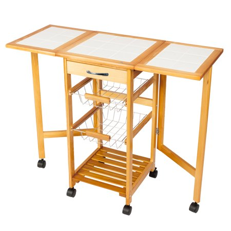 Zimtown Folding Rolling Drop Leaf Kitchen Island Trolley Cart Storage Drawers Baskets