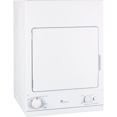 GE SPACEMAKER 240 VOLT 3.6 CU. FT.  STATIONARY ELECTRIC DRYER, WHITE