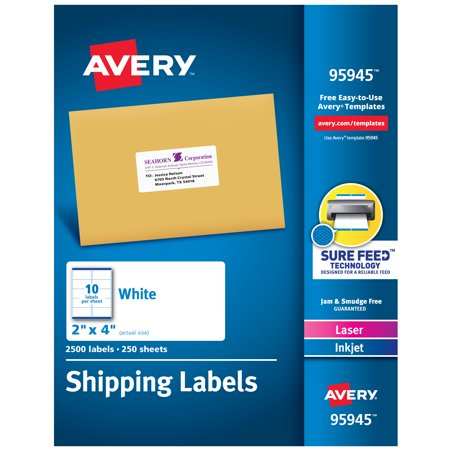 "Avery Shipping Labels, Sure Feed Technology, Permanent Adhesive, 2"" x 4"", 2,500 Labels (95945)"