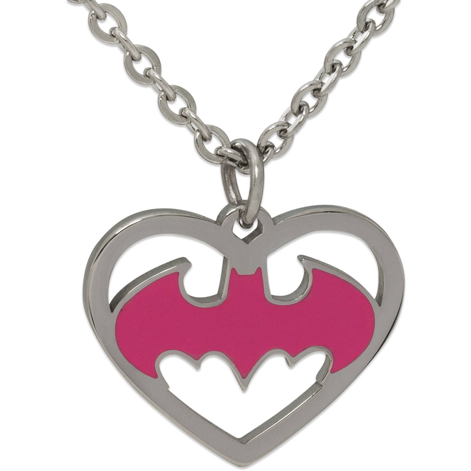 DC Comics Stainless Steel Batman Logo Heart Pendant with Chain